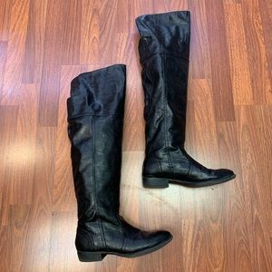 Relativity Over The Knee Tall Black Boots Low Heel